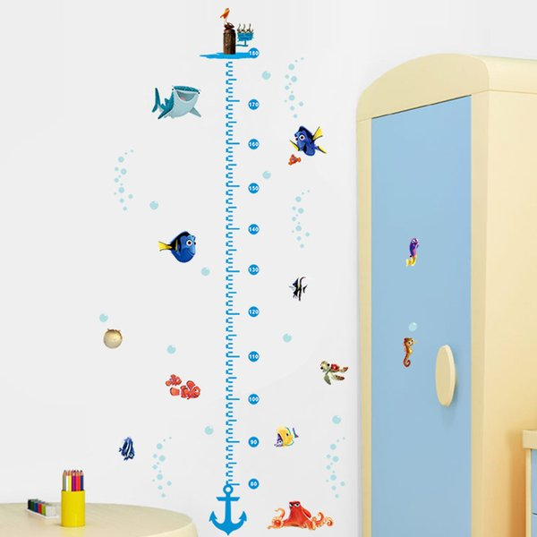 ticker for kids room cartoon Nemo Underwater Fish Turtle Bubble Height Measure Chart Wall Stickers For Kids Rooms Wall Decals Nursery Roo...