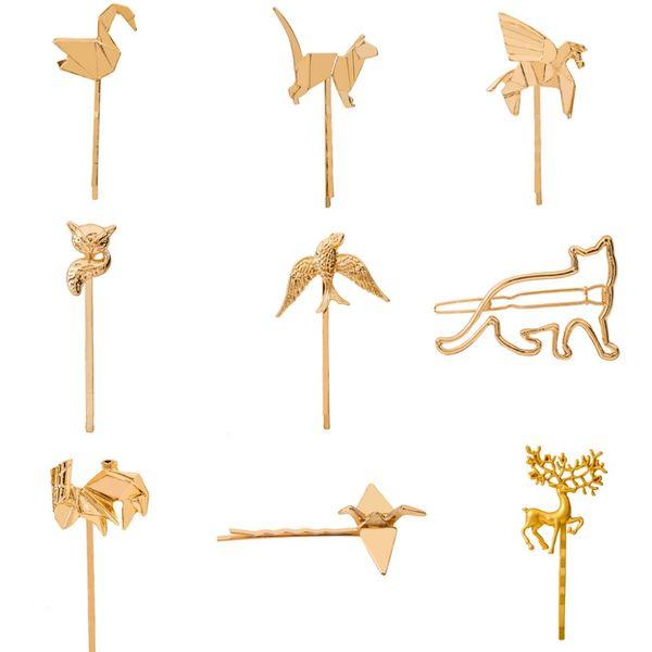 Many Kinds Animal Fox God Cat Swan Deer Birds etc Golden Silver Metallic Hair Clips and Pins Women Hair Jewelry