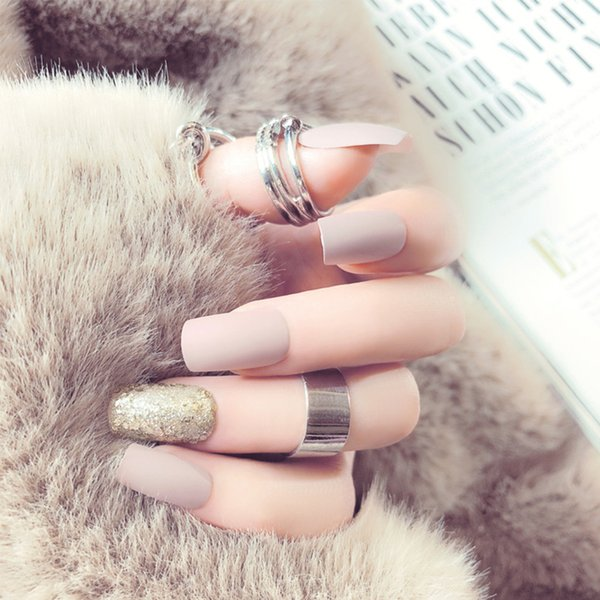 24pcs/Set Summer Matte False Nails Pre-design Full Finished Gold Glitter Artificial Nail Art with Glue Full Cover Fake Nail Tips