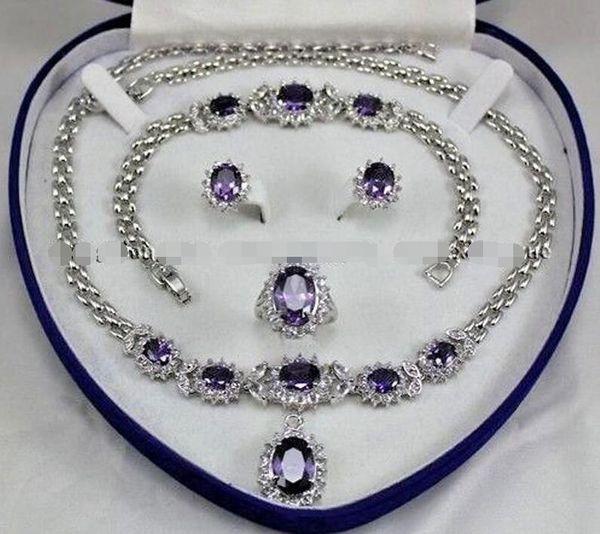 Красиво!Аметист инкрустация ссылка браслет серьги кольцо ожерелье набор