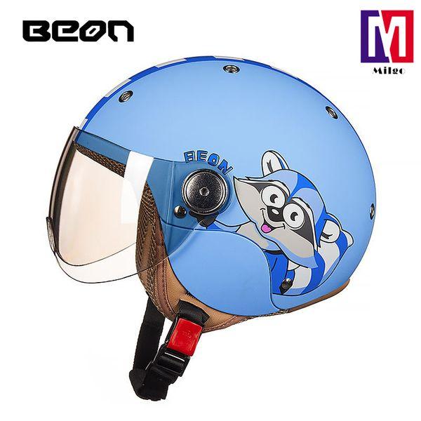 BEON children protection head gear kid motorcycle half open face helmet in blue color