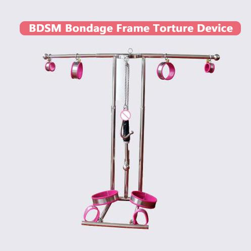 Top stainless steel sm bondage frame torture device arm wrist leg ankle restraint handcuffs neck corset collar anal hook dildo