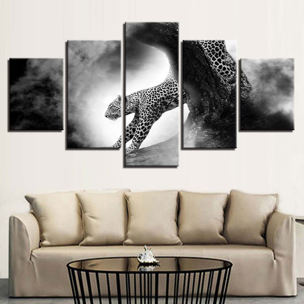 Framework Wall Art Modular Canvas 5 Pieces Animal Leopard Poster Decor Modern Living Room HD Printed Artworks Paintings Pictures