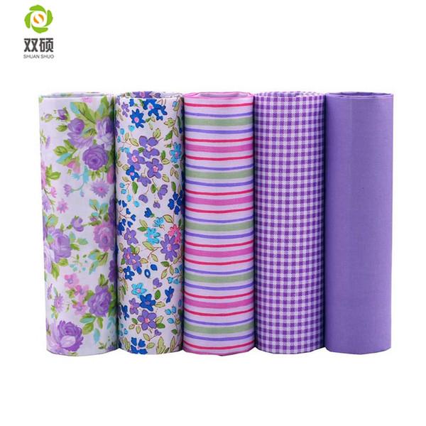 Shuanshuo Tissus tela del remiendo del algodón Telas grasa cuarto paquetes de tela para coser DIY Crafts color púrpura 40 * 50 cm 5 unids / lote