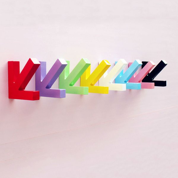 100 PCS Mordern Design Wall Mounted Colour Painting Wood Arrow Hook Hanger Hat Coat Door Clothes Rack Decoration Free shipping