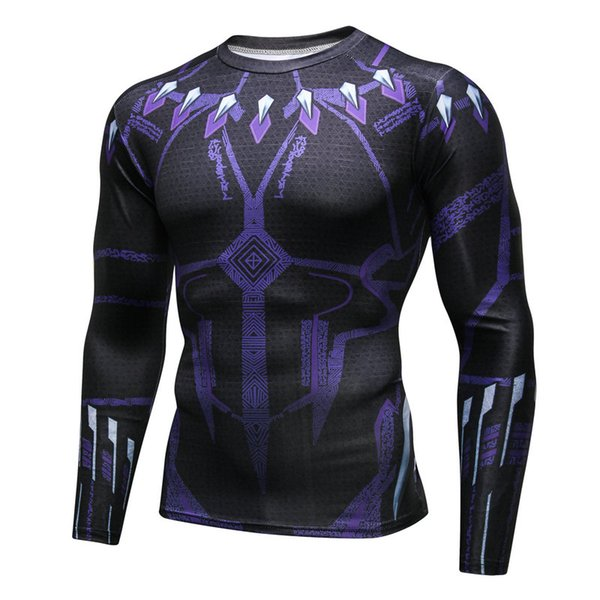 Men's fashion creativity The Avengers t-shirt tights tee superhero Black Panther sport long sleeves cycling fast dry basketball vest