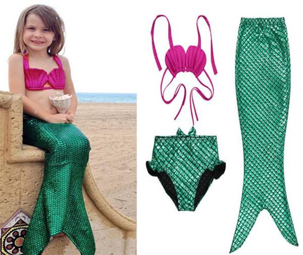 10set Girls Bikini Mermaid Tail Swim Suit Dress Infant Kids Swimsuit Swimwear Bathing Suits Summer Costumes set Y206