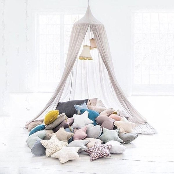 Cotton Linen Baby Mosquito Net Hanging Dome Bed Curtain For Living Room Home Sofa Tent For Baby Kid Bedroom Deco
