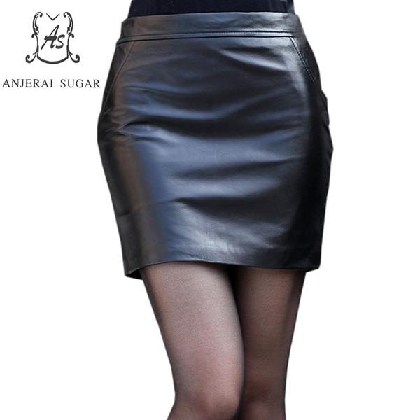 en bureau peau en jupes Paquet 2017 OL sexy noir cuir femmes mince Véritable automne hanche SxBHZ