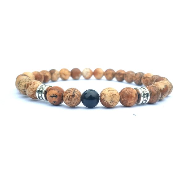 10pc/set free shipping gemstone beads bracelet 6mm picture jasper bracelet for men women handmade jewelry