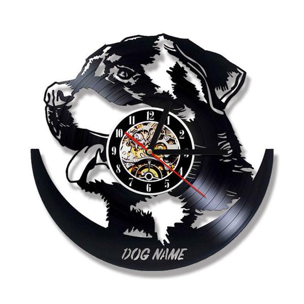 Tier Wanduhr modernes Design DIY Ihr Hund Name Uhren Vintage Retro Schallplatte Wanduhr 3D Aufkleber Silent Home Decor