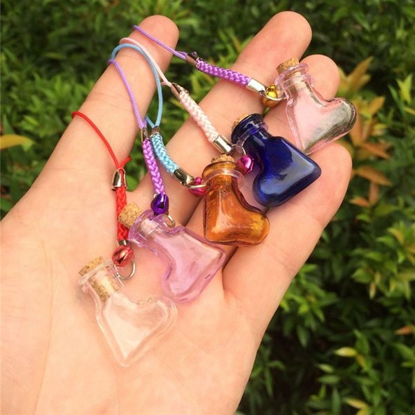Mini Love Heart Bottles Crafts with Nylon Rope Key Chains Mini Wedding Jars Gift Bottles Crafts Mixed Color 7pcs Free Shipping