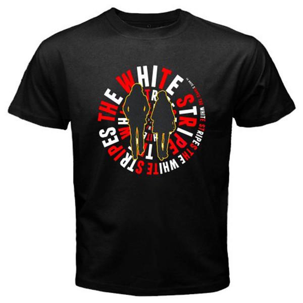 Nouveau T-shirt Homme Noir à Rayures Blanches Rock Duo Group Noir Taille L à 3TG