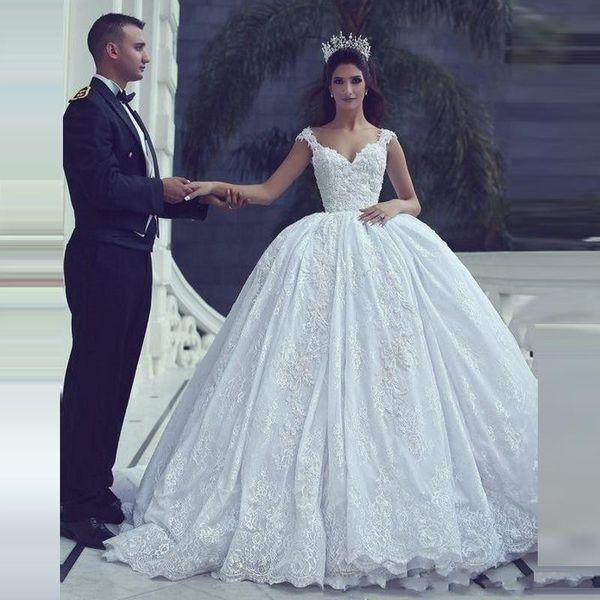 Said Mhamad Ball Gown Abiti da sposa Sweetheart Cap maniche in pizzo Appliques abiti da sposa Paese Custom Made African Bridal Dress
