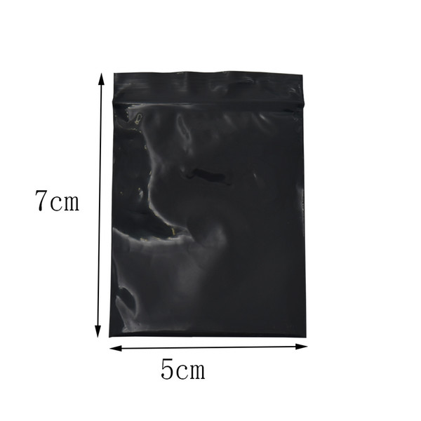 500Pcs/Lot Black Plastic 5*7cm Opaque Package Bag Reclosable Zip Lock Package Storage Pouches Self Seal Smell Proof Packing Bags
