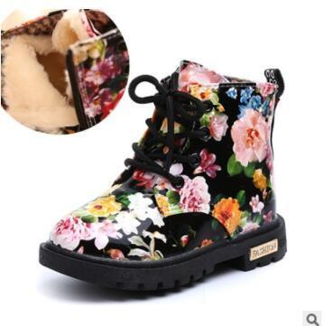2019 Cute Girls Boots Fashion Elegant Floral Flower Print Kids Shoes Baby Martin Boots Casual Leather Children Boots