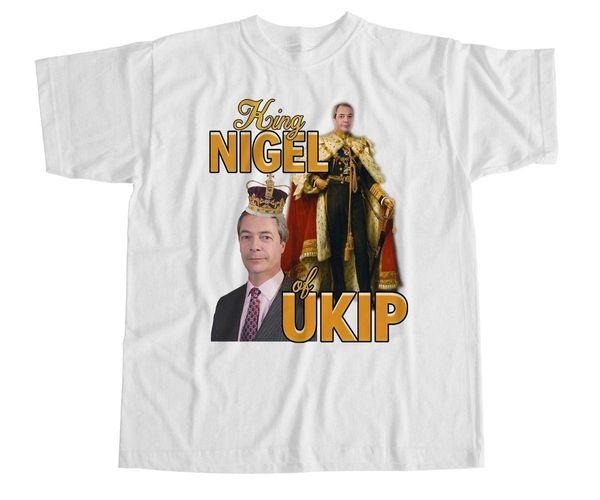 King Nigel Farage UKIP Camiseta Humor divertido Vintage Homenaje Político UE Nuevo 2018 Camiseta de algodón de manga corta Camiseta superior