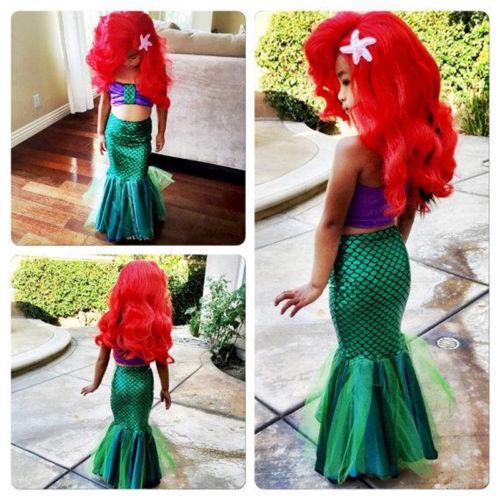 Toddler Cartoon Mermaid Tails Bikinis Set Baby Girls Kids Mermaid Bikini Swimwear Swimsuit Bathing Suit Costume