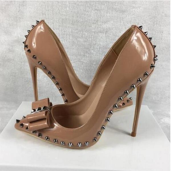 Nude Color Rivets High Heels Patent PU Leather Exclusive Brand Needle Sharp Rivet High Heels Women's Singles Shoes 10cm 12cm 8cm +logo box