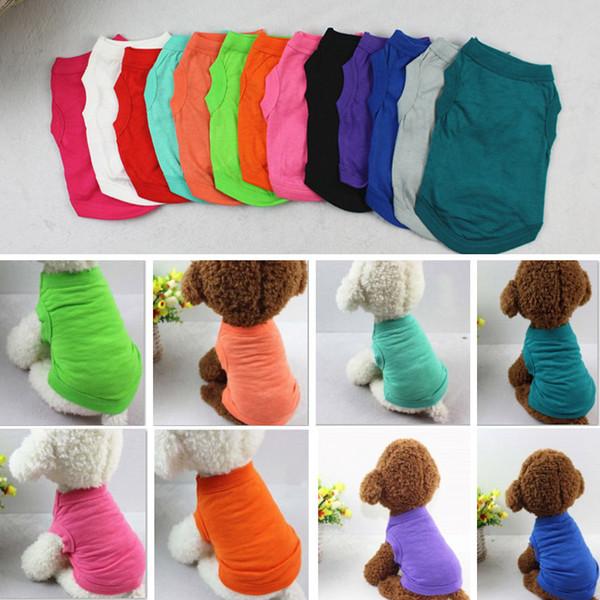 Pet T Shirts Summer Solid Dog Clothes Fashion Top Shirts Vest Cotton Clothes Dog Puppy Small Dog Clothes Cheap Pet Apparel XS-2XL HH7-1486