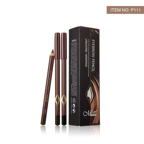 MENOW Brand Make up Natural 12pcs/set Eyebrow Pencil 3colors Waterproof Lasting Wooden Longlasting Eyebrow Pencil P111 EMS DHL