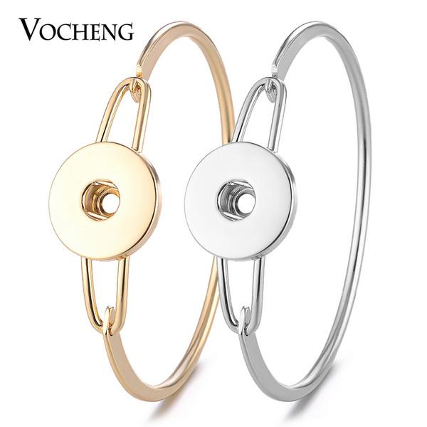 10 Adet / grup Vocheng Yapış Takı Charms Bileklik Kadınlar için Bakır Malzeme Fit 18mm Düğme Charms 2 Renkler NN-555 * 10
