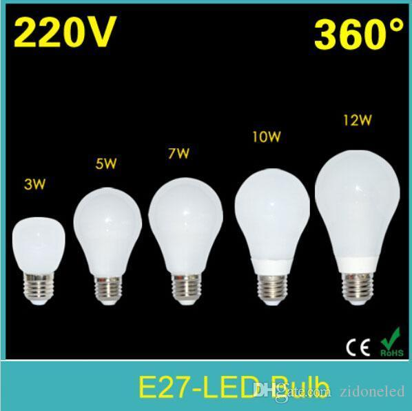 SMD2835 E27 führte Glühbirne 3W / 5W / 7W / 10W / 12W führte Lampe 110V / 220V Bubble Ball Bulb Lampen 360 Grad Mais Beleuchtung