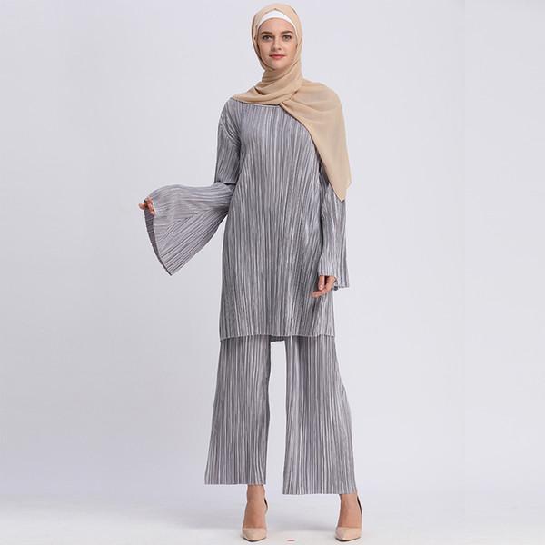Plus Size Abaya Bangladesh Muçulmano Hijab Duas Peças Set Plissado Manga Comprida Top Calças Abayas Para As Mulheres Roupas Islâmicas turcas