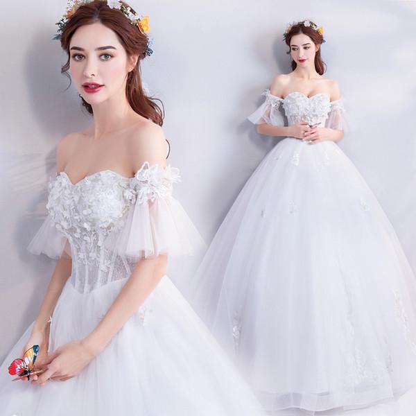 Compre Él Es El Vestido De Novia De La Novia Elegante Blanco Del ...