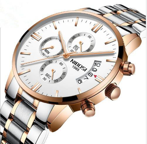 new Butterfly Snap Solid Steel Men's Watch Waterproof Coated Glass Luminous 3 Eyes 6-Pin Quartz Watch