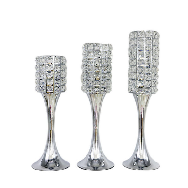 10pcs/lot Gold Silver Crystal Candle Holders Metal Candlestick Wedding Centerpieces Party Table Candelabra Home Hotel Decoration