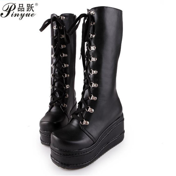 large sizes 31-49 customized fashion punk cosplay boots woman shoes platform winter wedge high heel knee high boots