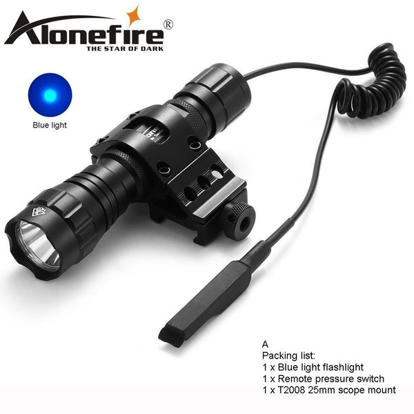 AloneFire 501Bs Blue light LED Tactical Flashlight Flash light Hunting Camping Linternas led Torch Mount Pressure Switch