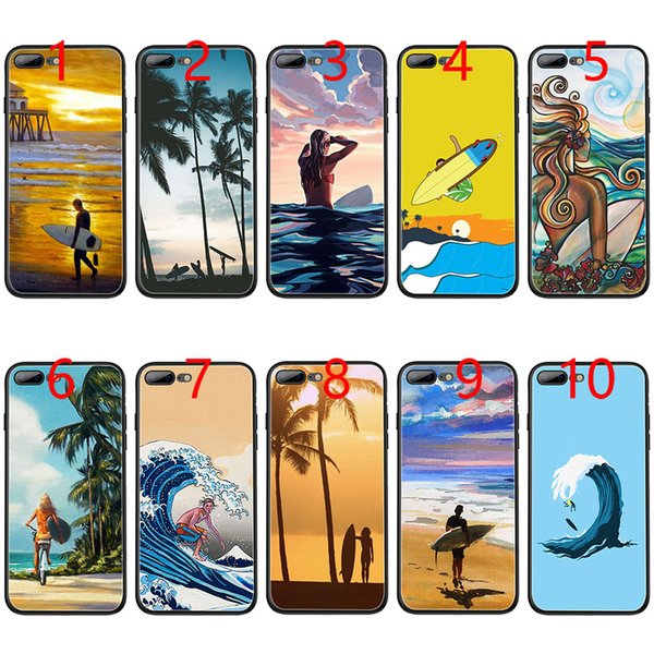 surfboard surfing art surf Girl Soft Black TPU Phone Case for iPhone XS Max XR 6 6s 7 8 Plus 5 5s SE Cover