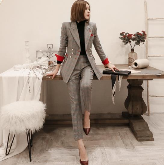 Nouveaux costumes formels pour femmes Casual Office Business Suitspants Vêtements de travail Ensembles Styles uniformes Élégants Pantalons à carreaux