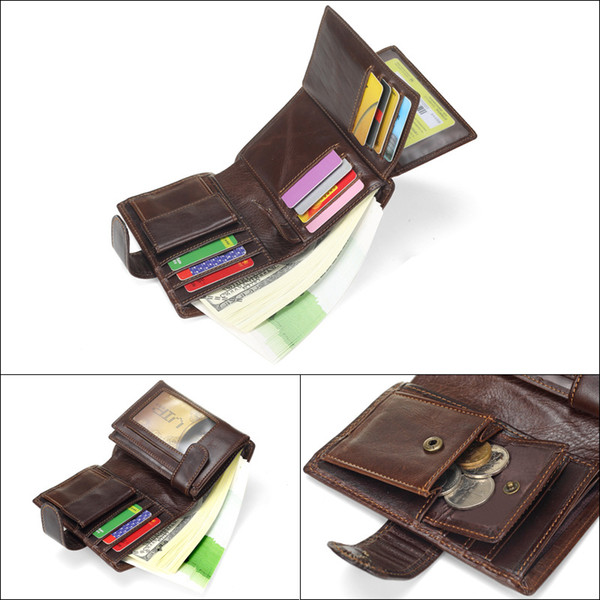 Genuine Cowhide Original Retro Men's Wallet Fashion Hot Short Variety Change Wallet First Layer Vertical Leather Bag