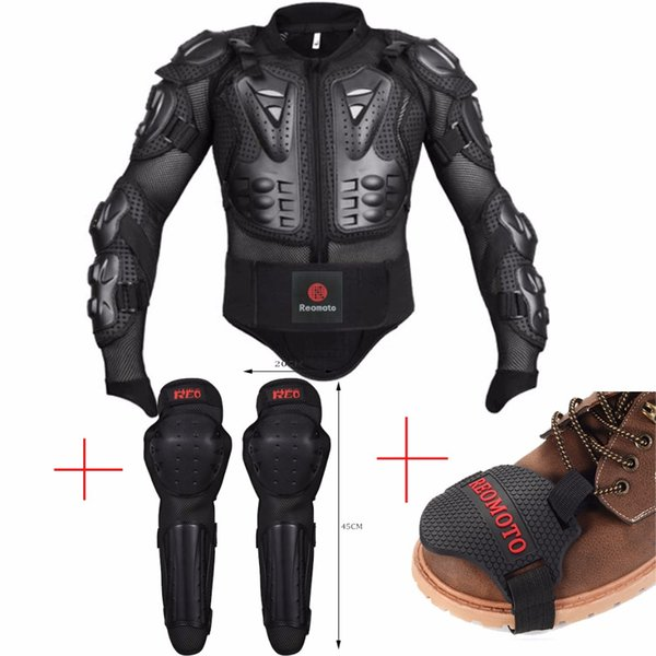 Motocross Off-Road Racing Body Armor jacket +motorcycle Motocross boots Shift Pad +motorbike knee protector