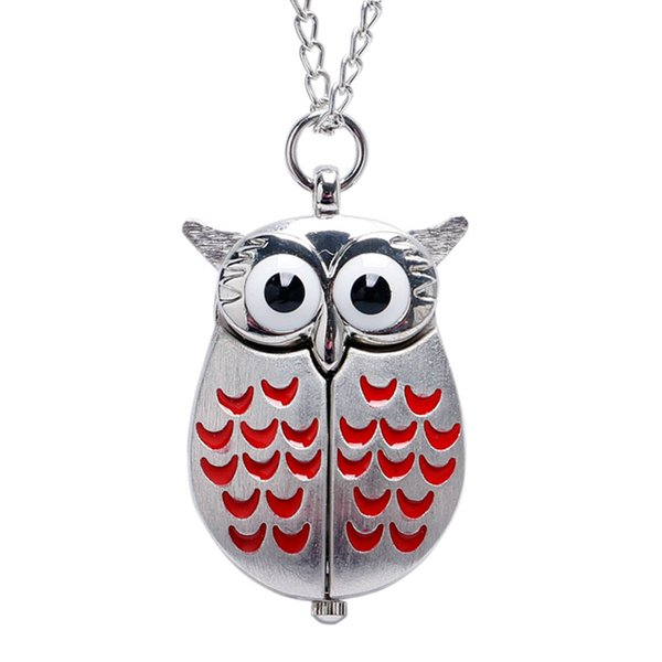 Orologio da tasca di alta qualità Vintage Mini Wing Owl Quartz Orologio da tasca Collana a catena regalo per uomo donna
