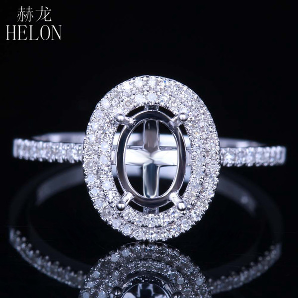 HELON Sólido 14 K Ouro Branco Flawless Oval Corte 7x5mm Semi Montar Aniversário Anel Fino Pavimentar Natural Diamante Noivado Anel De Casamento