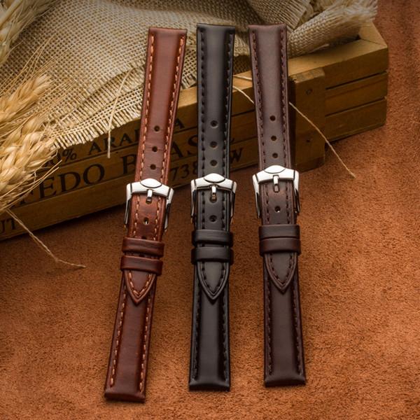 Cinturino orologio da donna in vera pelle cinturino dell'orologio da donna 14mm-20mm Cinturino da polso nero