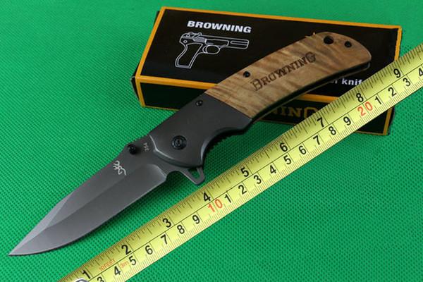 Browning 354 Flipper Couteau EDC Pliant Tactique Poche Outil De Camping Poignée En Bois Rapide Assisté Ouverture Chasse Survie Cadeau Couteaux P88F