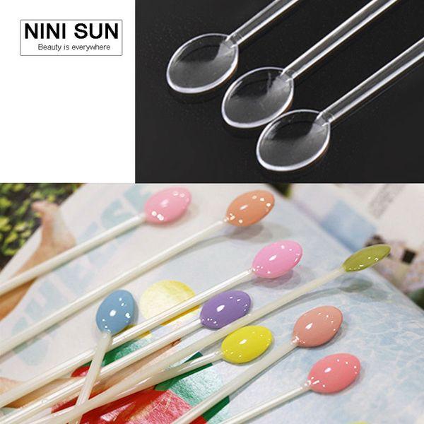 100pcs Spoon Shape Nail Art Tips Display Stick False Display Practice Fan Polish Gel Color Sample Equipment Manicure Beauty Tool