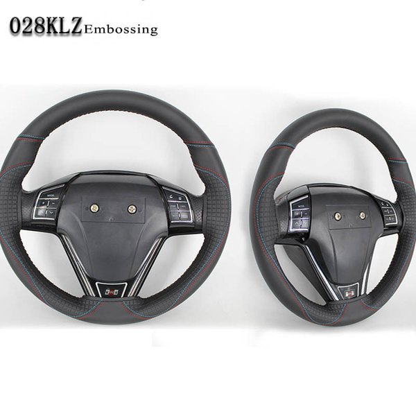 Hand sew 38cm fashion embossing silicone leather car steering wheel cover used for all seasons round
