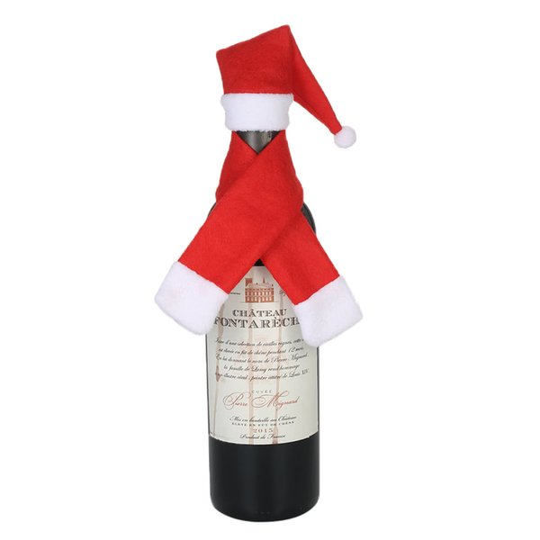 Christmas Wine Bottle Cover Santa Claus Hat Scraf Ornaments Xmas Champagne Bottle Bags Wrap Clothes for New Year Dinner Party Decor