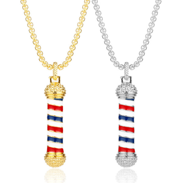 Colgantes de oro Collar 2018 nuevo diseño HOT Hip Hop Collares Lámpara de rotación marca Barber's tool Chain Popular Fashion jewelry women wholesale