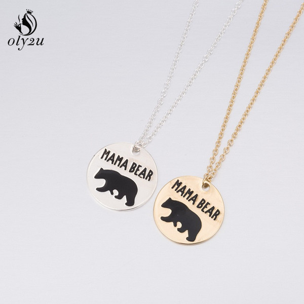 Oly2u Stainless Steel Necklaces & Pendants Mama Bear Chain Necklace Jewelry Womens Clothing Accessories Steel Christmas Gift E