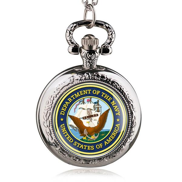 Gümüş Yuvarlak Kutu ile Kuvars Pocket Saatler Kolye Amerika Birleşik Devletleri Amerika Donanması Kolye İzle Erkekler Kadınlar PB488