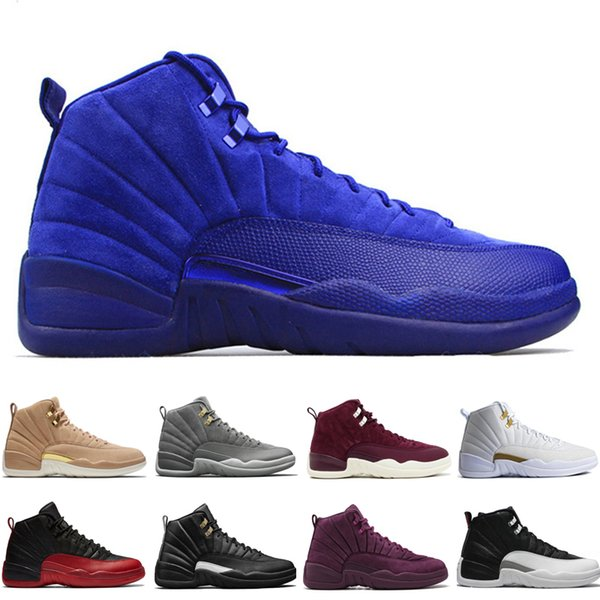 12 12s mens basketball shoes Wheat Dark Grey Bordeaux Flu Game The Master Taxi Playoffs Pinnacle Metallic Gold Red Suede Sport sneakers