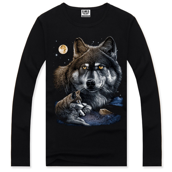 2017 Long Sleeve Anime 3D Full Print Fashion Men T-shirt Cotton O-neck Wolf Tees Summer T Shirt Casual Funny Personalized A1115