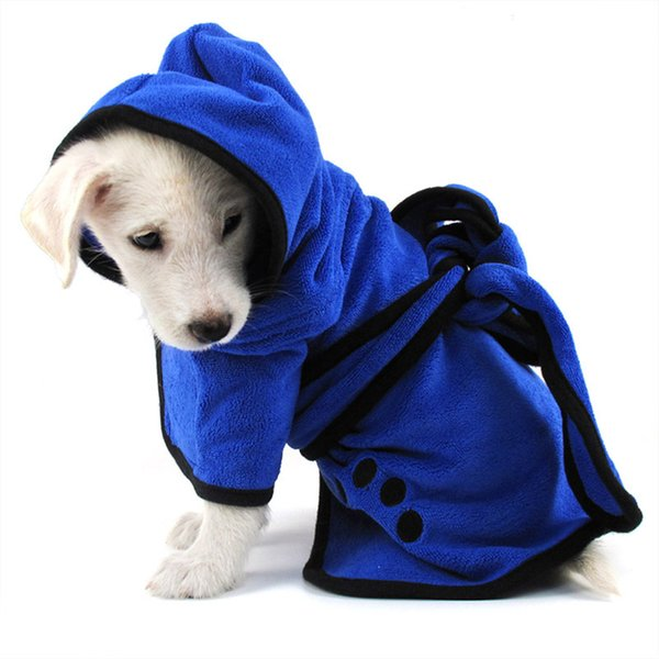 2018 Dog Bathrobe Warm Dog Clothes Super Absorbent Pet Drying Towel Embroidery Cat Hood Pet Bath Towel Product